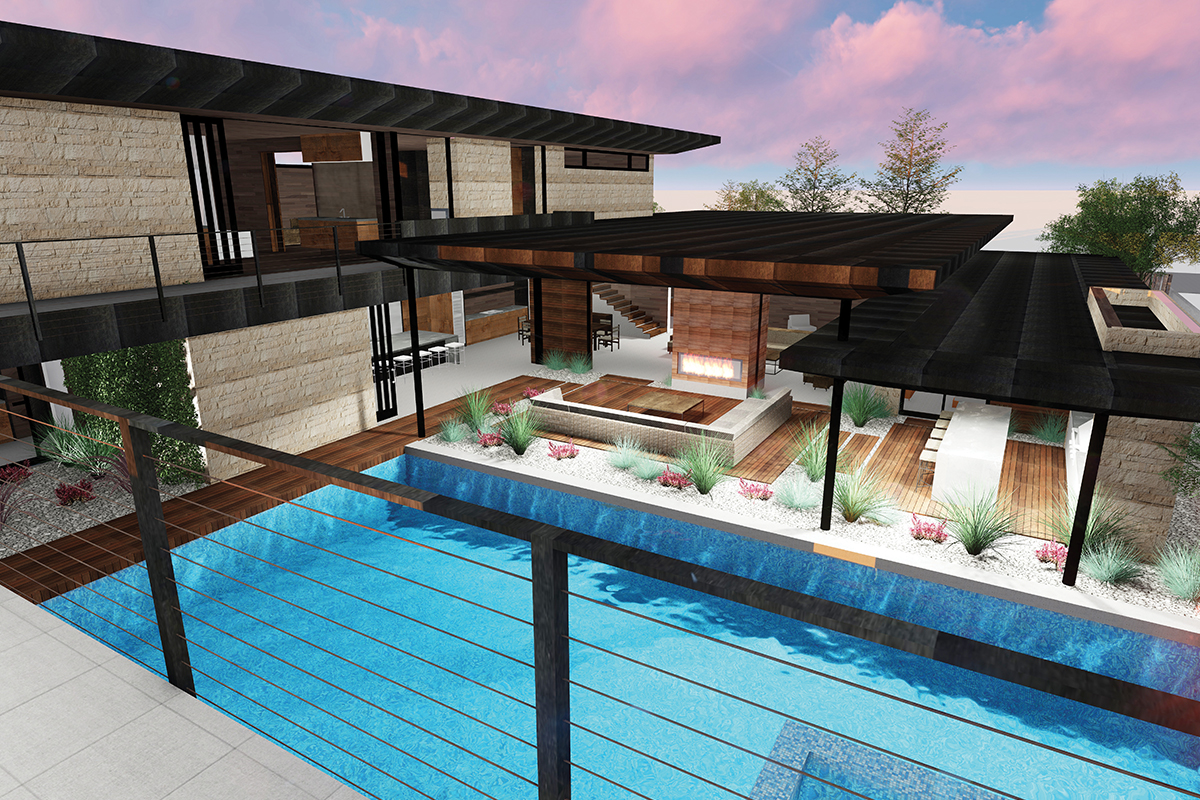 2720 Pinto Lane swimming pool and interior Rendering